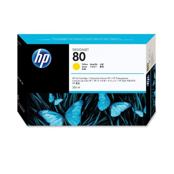 HP - No 80 Yellow Ink Cartridge,350ml [C4848A]