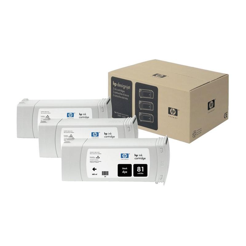 HP - 81 Black Dye, 3 Ink Multi Pack [C5066A]
