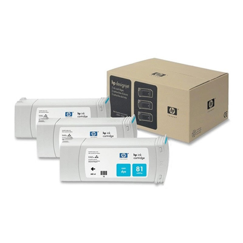 HP - 81 Cyan Dye, 3 Ink Multi Pack [C5067A]