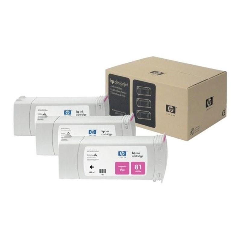HP - 81 Magenta Dye, 3 Ink Multi Pack [C5068A]
