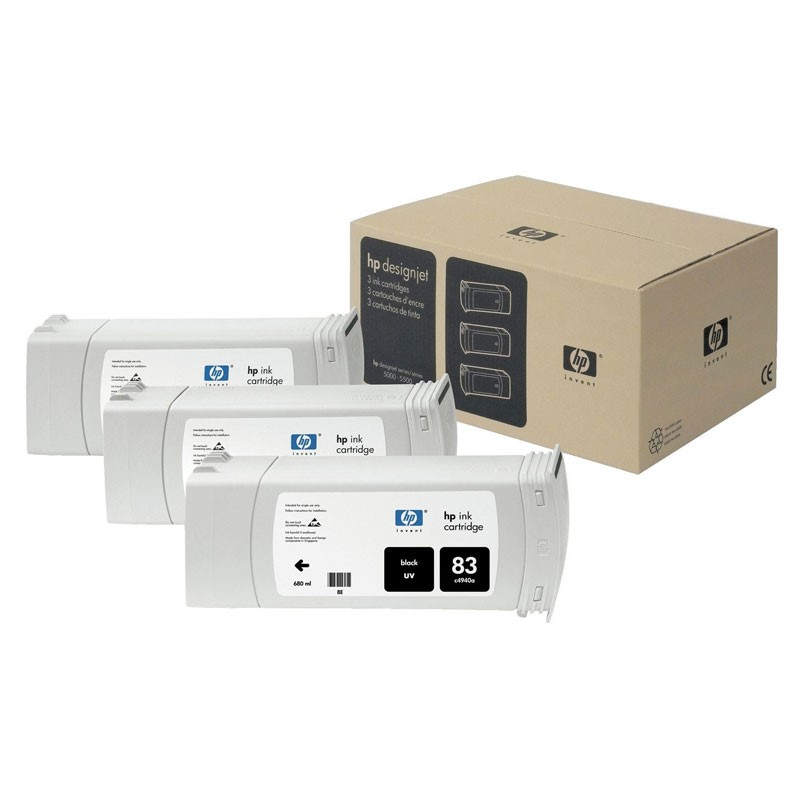 HP - 83 Black UV, 3 Ink Multi Pack [C5072A]