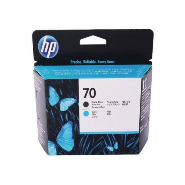 HP - 70 Matte Black and Cyan Printhead [C9404A]