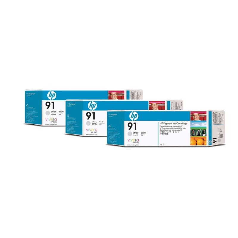 HP - 91 Light Gray 3 Ink Multi packs cartridges [C9482A]