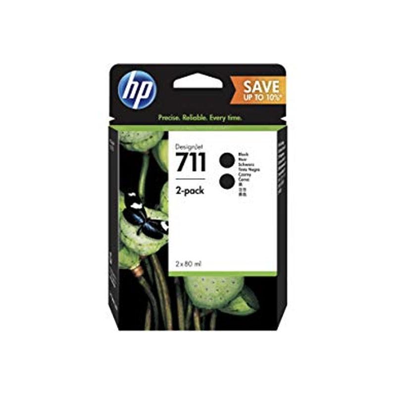 HP - 711 80ml Black Ink Crtg 2-Pack [P2V31A]