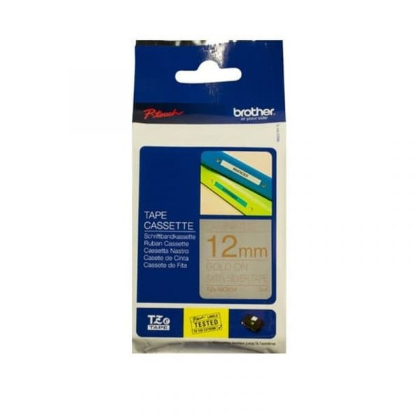 BROTHER - 12MM GOLD ON SATIN SILVER 5 METER (Fancy Label) [TZE-MQ934]