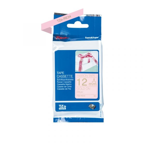 BROTHER - 12MM GOLD ON PINK RIBBON TAPE 4 METER (Ribbon) [TZE-RE34]